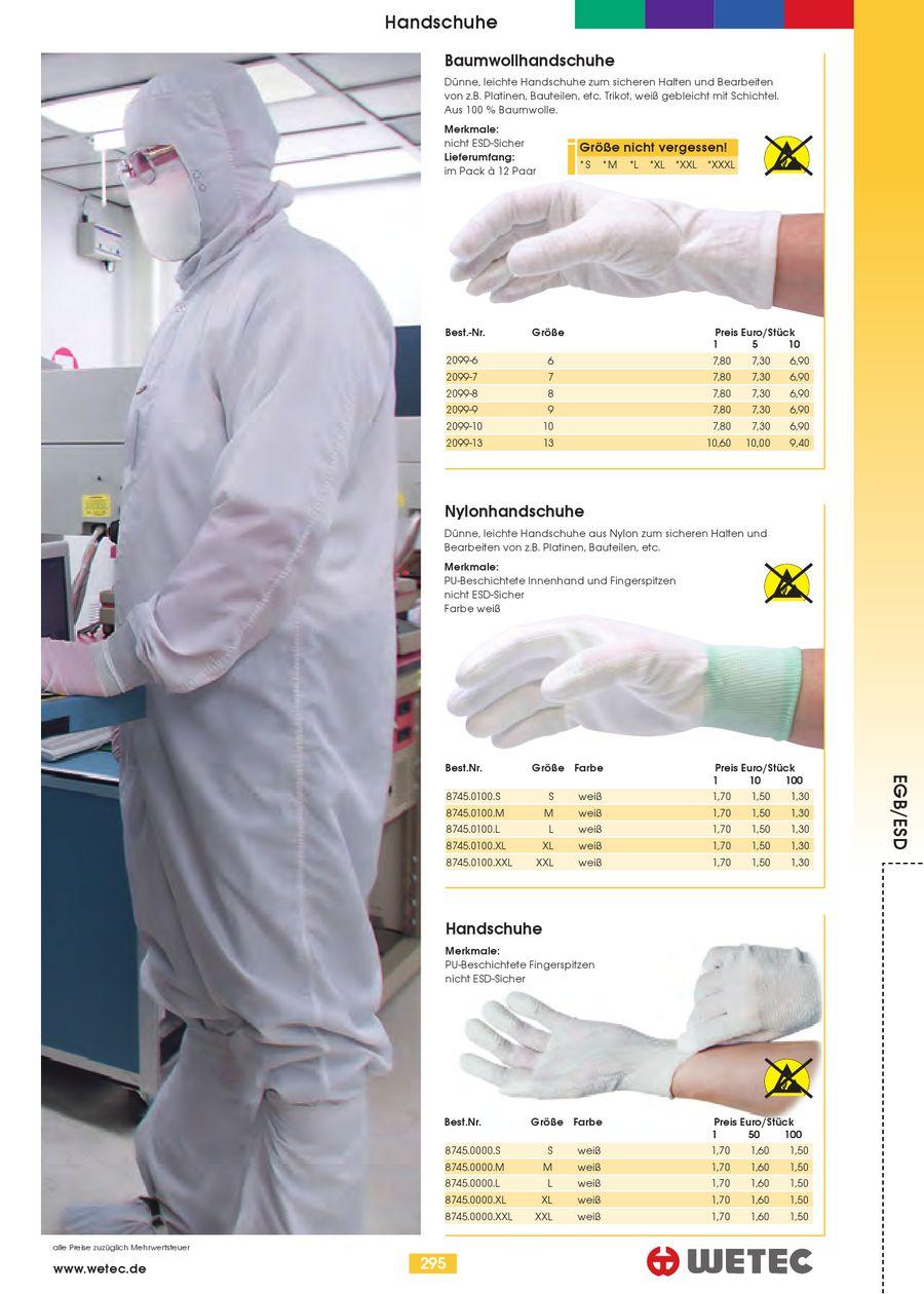 PU-beschichtete Fingerkuppen XL ESD Wetec Handschuhe Carbonfaden