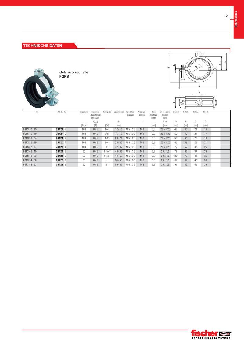 """Fischer 79406 FGRS Plus 48-53 mm  1 1//2/"""" Gelenkrohrschelle 6 Stück"""