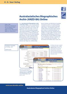 Australasian Biographical Archive (ANZO-BA) Online