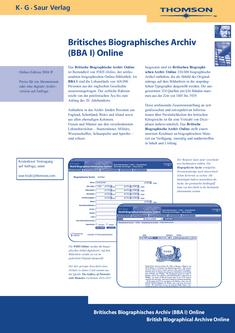 British Biographical Archive (BBA I) Online