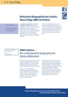 British Biographical Archive. Series II (BBA II) Online