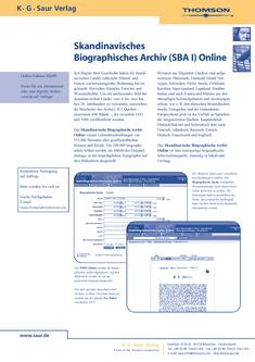 Scandinavian Biographical Archive (SBA I) Online