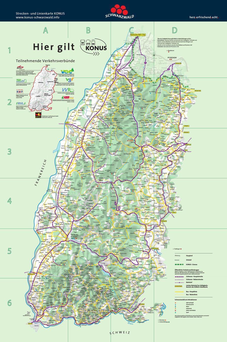 Konus Strecken Und Linien Karte Von Schwarzwald Tourismus