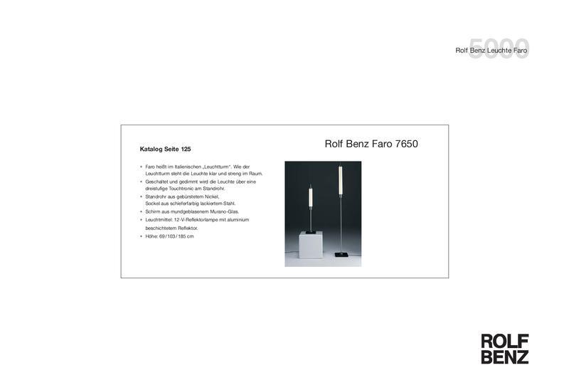 Collection 5000 Tischleuchte/Stehleuchte FARO von Rolf Benz