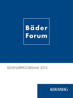 BäderForum - Seminarprogramm 2015
