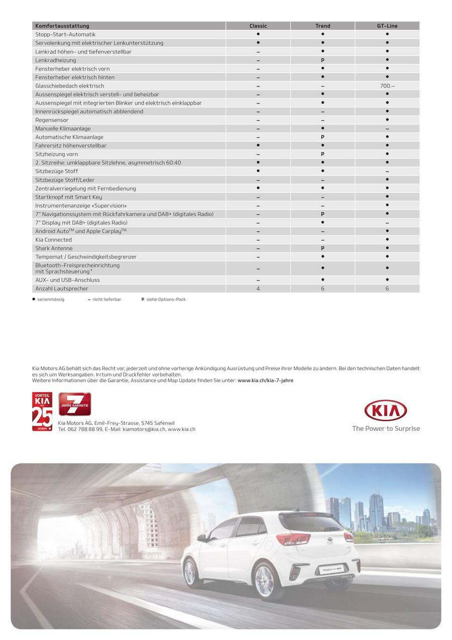 KIA Rio Preisliste 2019 von Kia Motors Schweiz