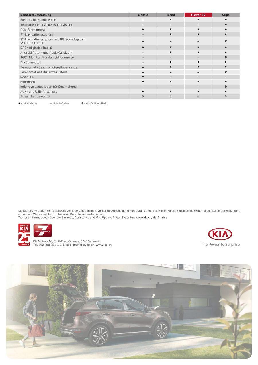 KIA Sportage Preisliste 2019 von Kia Motors Schweiz