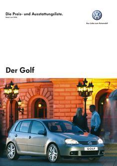 Volkswagen Golf V Preisliste 2006