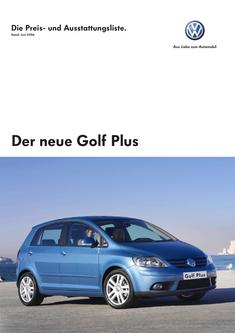 Volkswagen Golf Plus Preisliste 2006