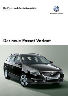 Volkswagen Passat Variant Preisliste 2006