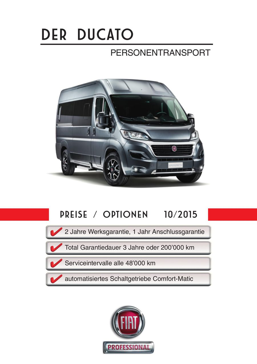 Ducato Personentransport Preisliste 10 von Fiat Auto (Suisse) SA