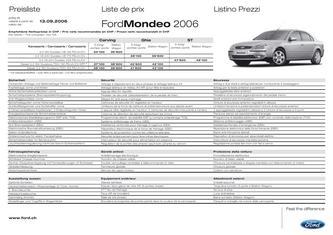 Ford Mondeo Preisliste 2006