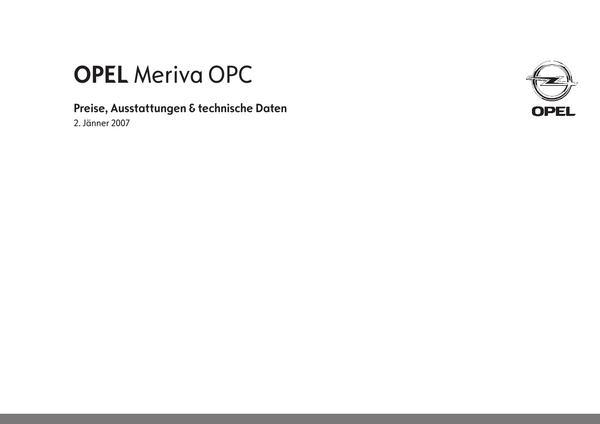 Seite 1 von Opel Österreich im Katalog Opel Meriva OPC Preise 2007