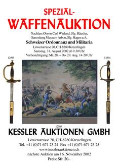 Spezial-Waffenauktion 2. Schweizer Ordonnanz und Militaria