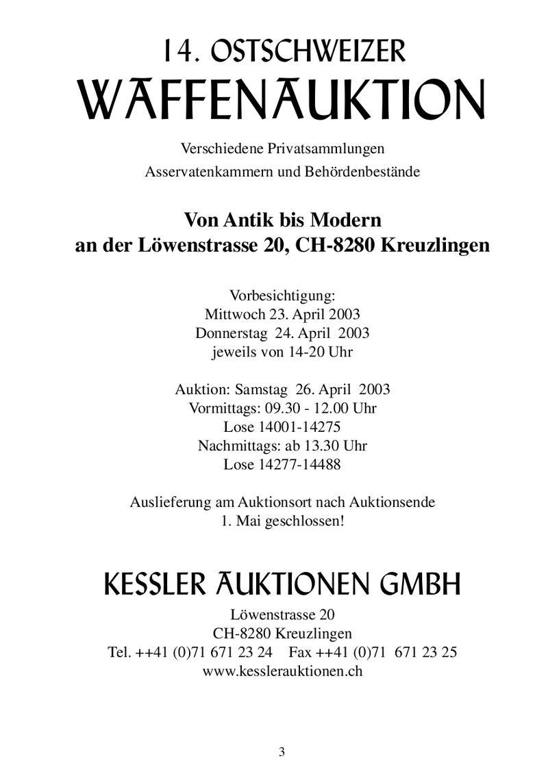 14. Ostschweizer Waffenauktion von Kessler Auktionen GmbH