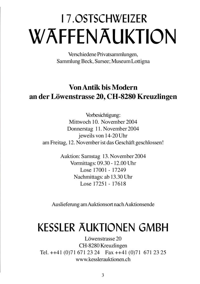 17. Ostschweizer Waffenauktion Katalog von Kessler Auktionen