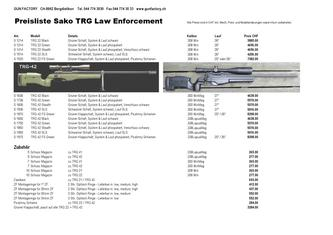 Preisliste Sako TRG Law Enforcement