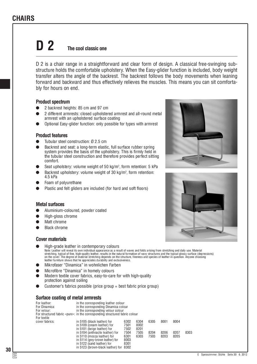 D2 Stühle Artikelliste 2012 von Hülsta