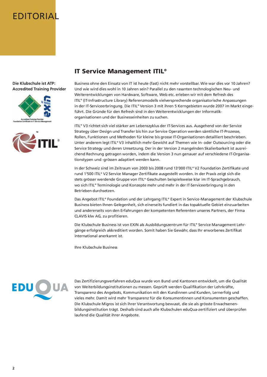 Seite 2 Von Itil Service Management Zertifizierung