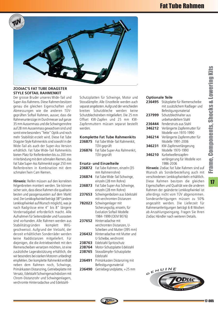 Rahmen, Rahmenteile, Stossdampfer, Tieferiegung 2013/2014 von Zodiac