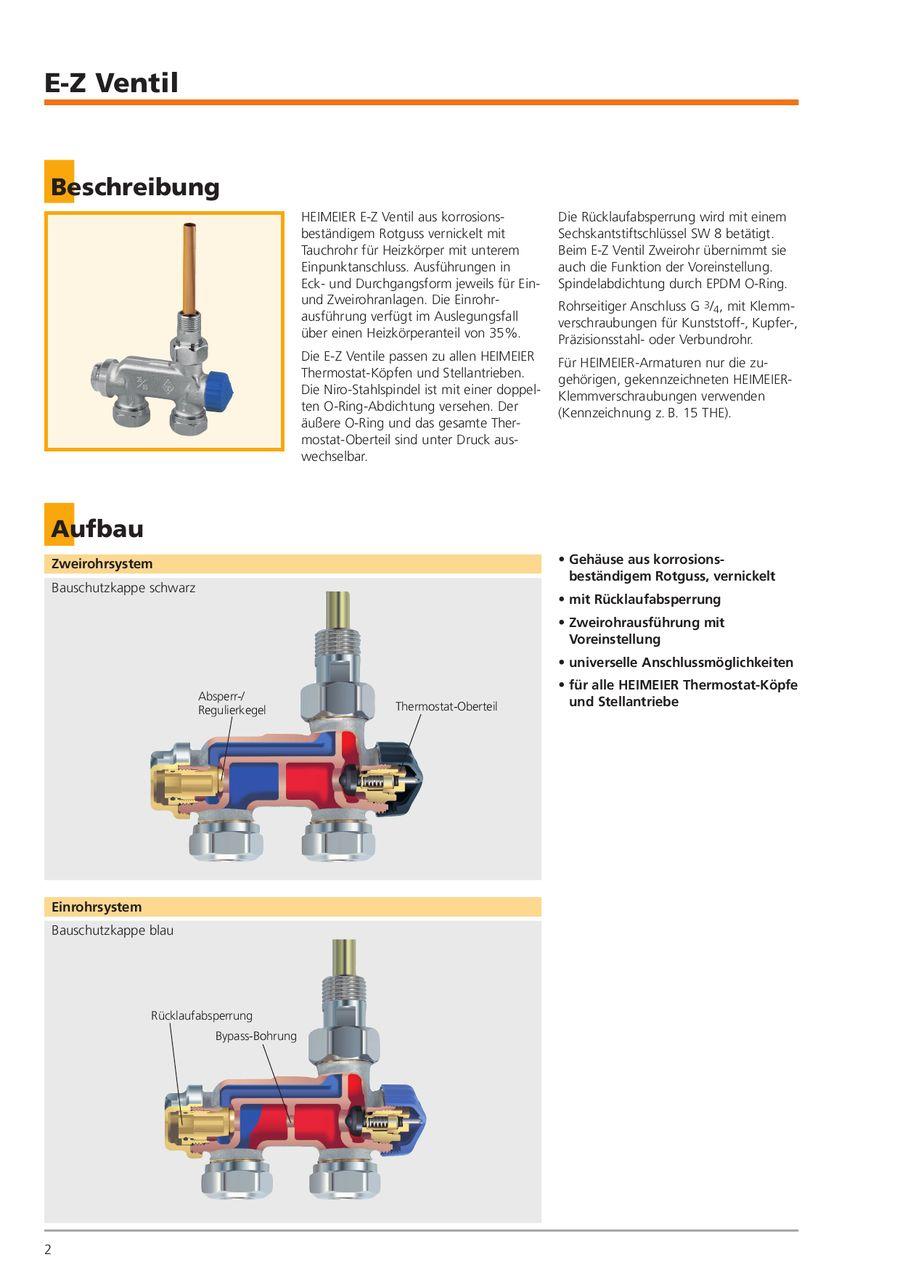 E-Z Ventil mit Tauchrohr DN 15 Einrohrsystem Eckform