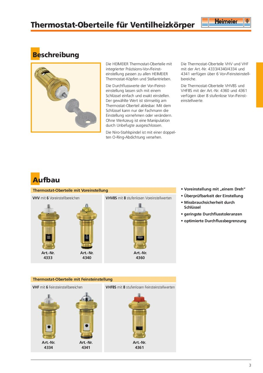 Thermostat Oberteile Von Heimeier