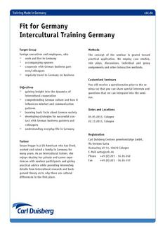 Intercultural Training - Fit for Germany 2011