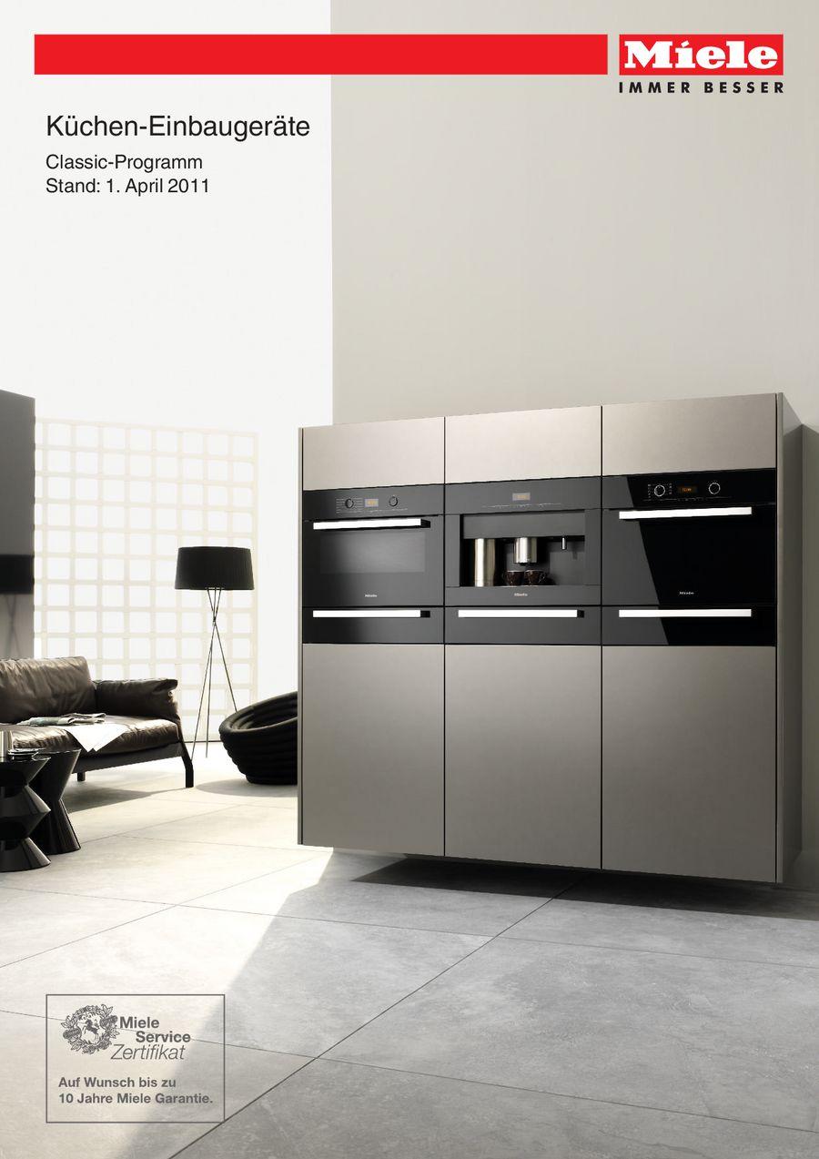 Küchen-Einbaugeräte Classic-Program 2011 von Miele Deutschland
