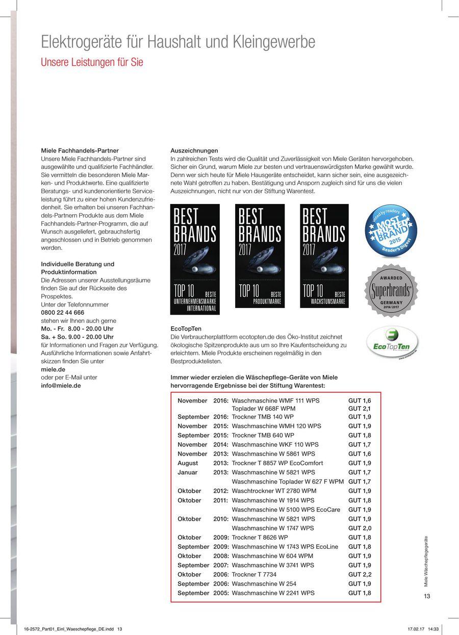 Seite 13 Von Waschepflege Gerate Fur Haushalt Und Kleingewerbe 2017