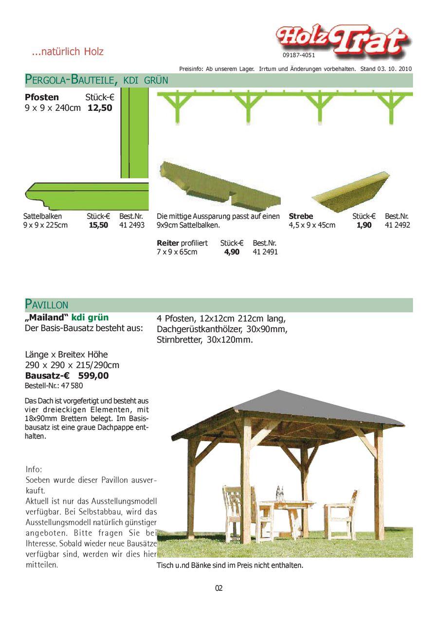 Pergola-Bauteile 2011 von Holz Trat