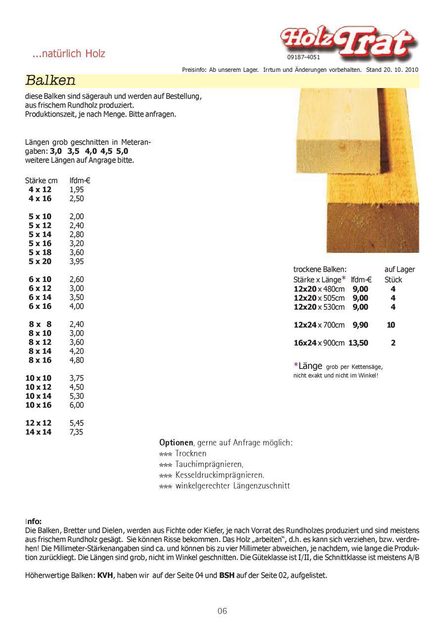 Bauholz, BSH KVH 2011 von Holz Trat