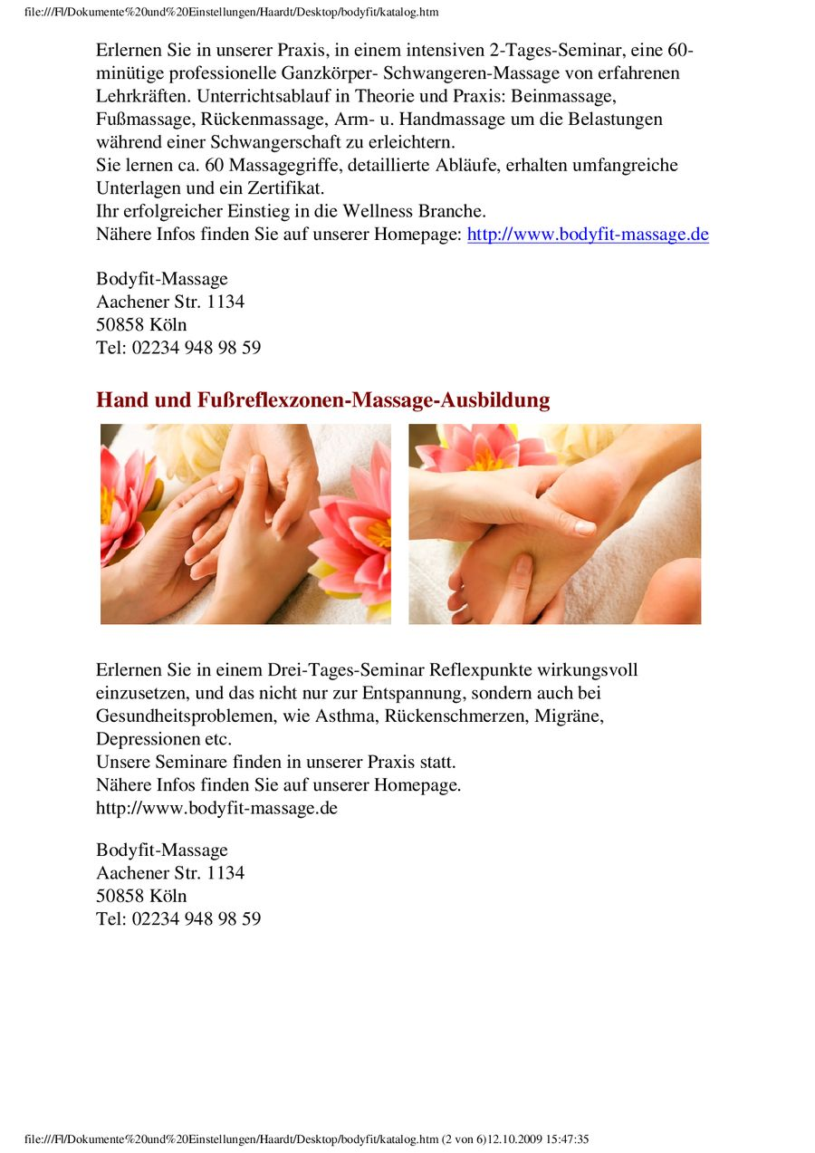 Massage-Ausbildung von bodyfit-Massage