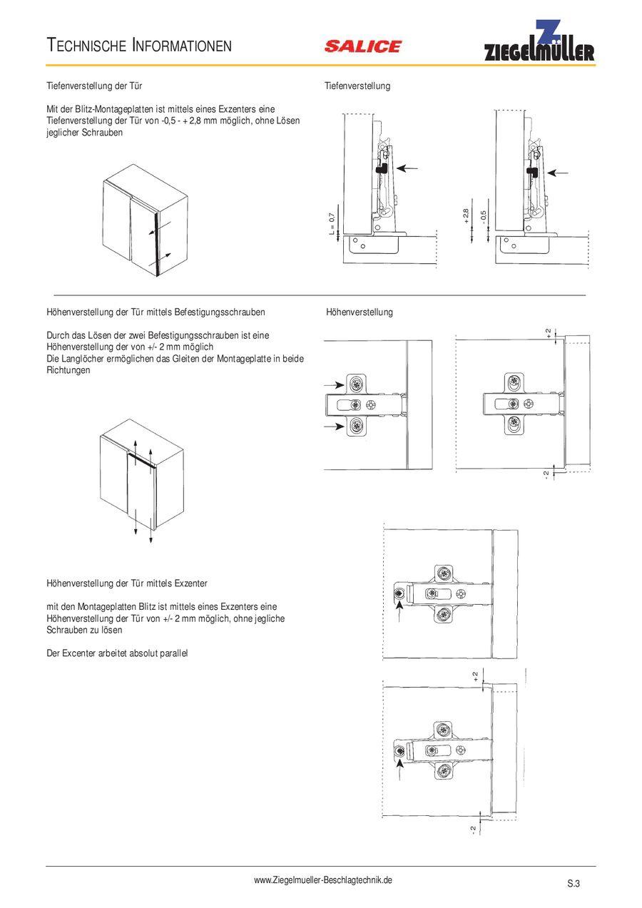 SALICE Scharnier Alu Rahmen Topfscharnier Türscharnier Topfband Eckanschlag K0
