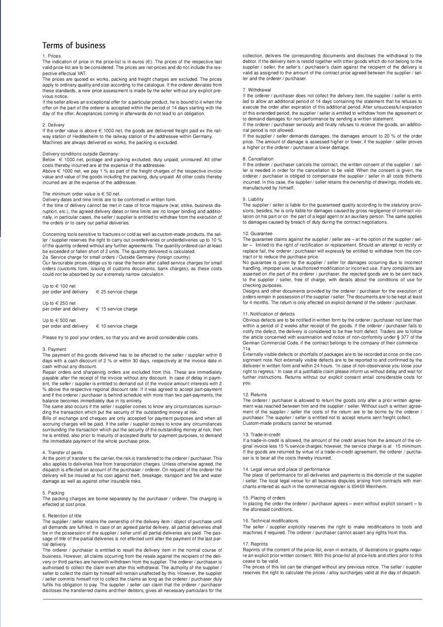 Seite 15 von Maschinen- Hand- Säbel- Band- Sägeblätter 2010