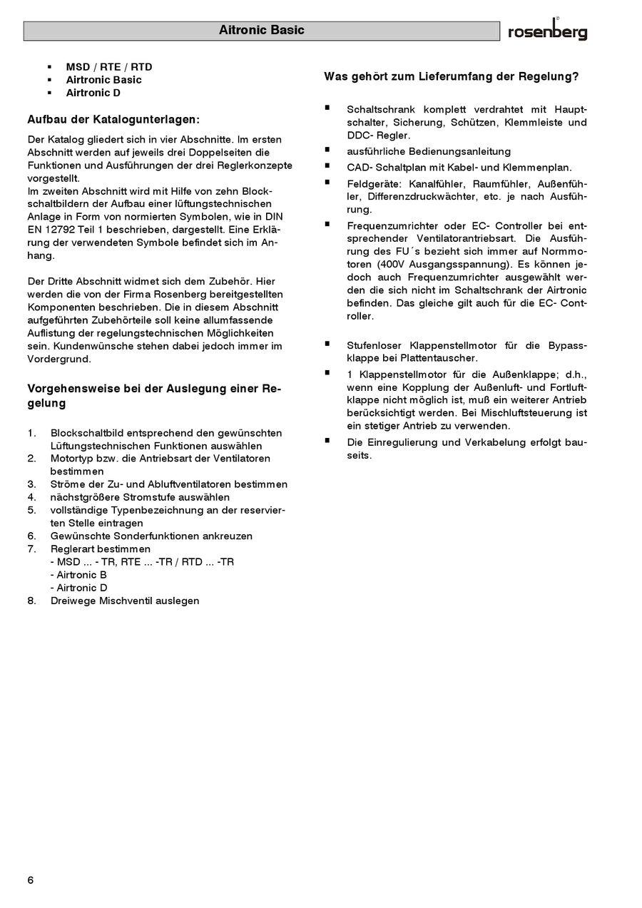 Lüftungs-Regelgeräte (Airtronic) von Rosenberg Ventilatoren