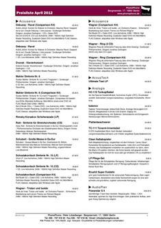 Preisliste mit nahezu allen Produkten in Kurzfassung April 2012