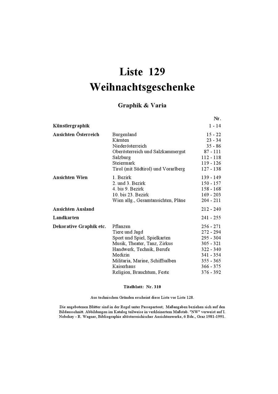 Weihnachtsgeschenke Liste 129 von Wiener Antiquariat Ingo Nebehay