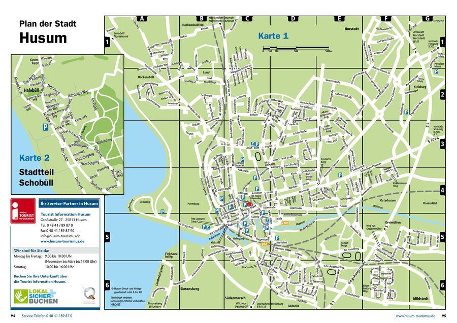 Seite 2 von Urlaubsmagazin Husumer Bucht 2016 - Stadtplan