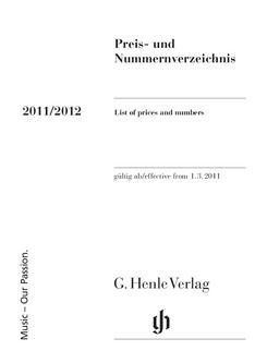 Preis- und Nummernverzeichnis 2011/2012