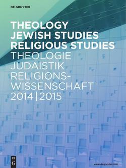 Neuerscheinungsverzeichnis Theologie • Judaistik • Religionswissenschaft 2014