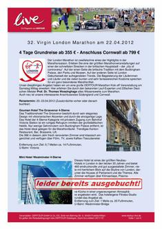 Reiseangebot zum 32. Virgin London Marathon 2012