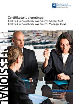Zertifikatsstudiengang Sustainability Investments Advisor / Manager (CSIA/CSIM)