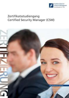 Zertifikatsstudiengang Certified Security Manager (CSM) 2011