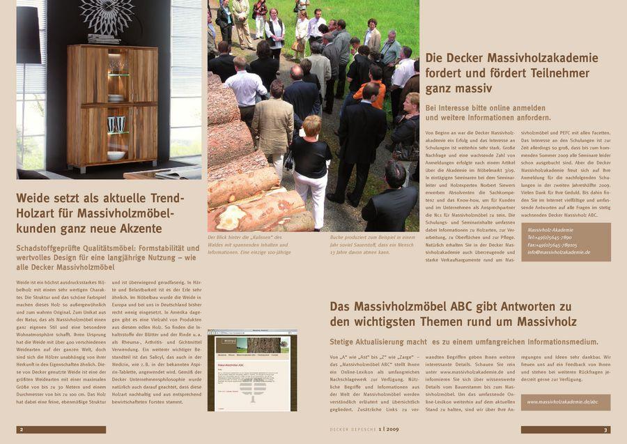 Massivholz-Depesche (Ausgabe 1/2009) von Decker Möbelwerke