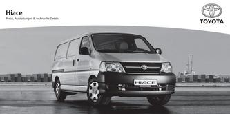 Preisliste Toyota Hiace 2013