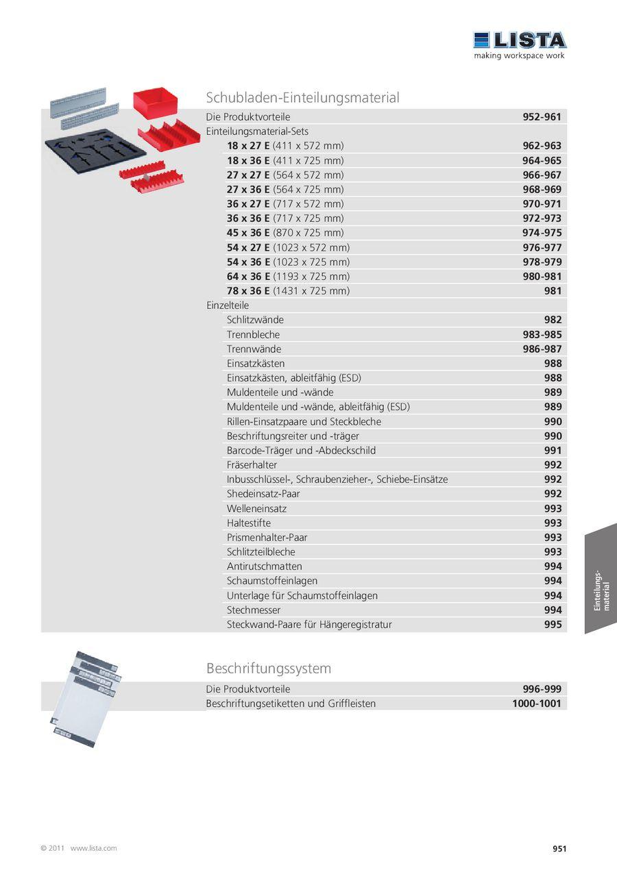 Schubladen-Einteilungsmaterial 2013 von Lista