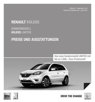 Preisliste Koleos September 2014