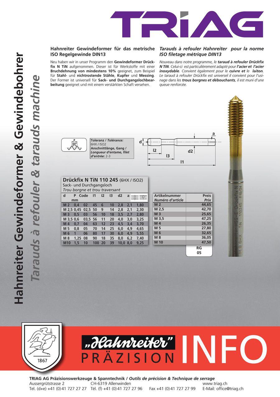 Format Filetage former DIN 371 C m5 Tin