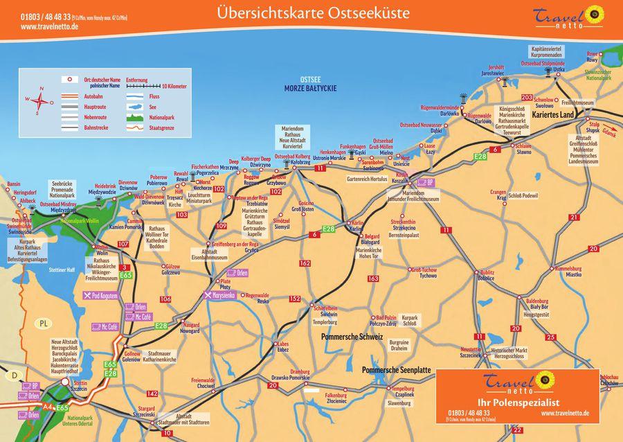 Karte Ostseeküste Polen.Touristische Landkarte Der Polnischen Ostseeküste Von Travel Netto