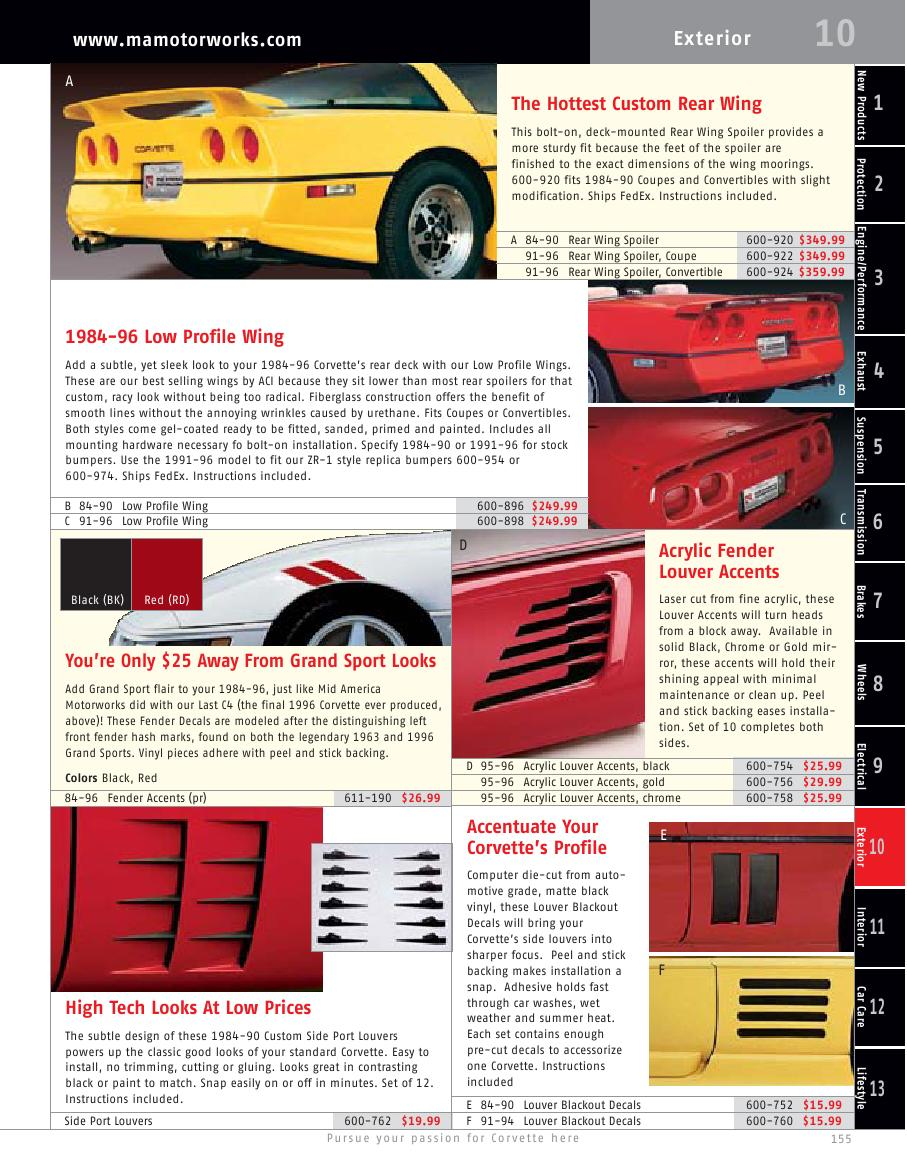 Seite 158 von Chevrolet Corvette Parts and Accessories Catalog